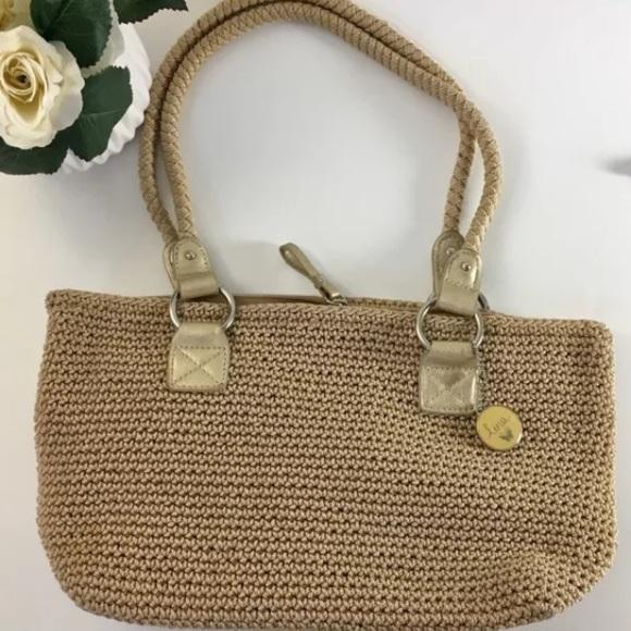 The Sak Handbags - Lina by The Sak Beige Knit Purse Braided Straps